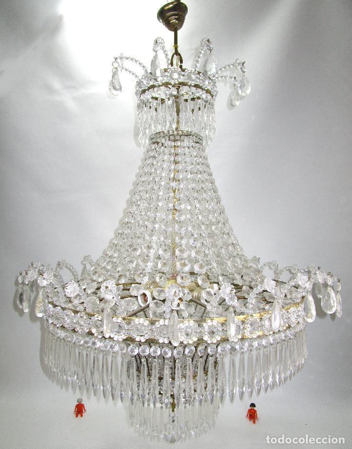 Antigüedades: LAMPARA XXXL ANTIGUA XXXL CRISTAL DE BOHEMIA DE PALACIO HOTEL TIENDA HALL - Foto 4 - 127578315