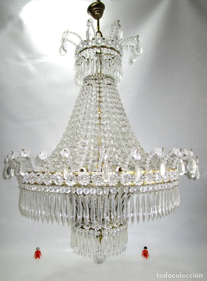 Antigüedades: LAMPARA XXXL ANTIGUA XXXL CRISTAL DE BOHEMIA DE PALACIO HOTEL TIENDA HALL - Foto 5 - 127578315