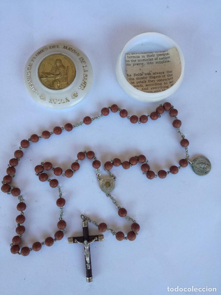 ROSARIO DE FLORES DEL JARDIN DE LA SANTA AVILA - EN SU CAJA ORIGINAL (Antigüedades - Religiosas - Rosarios Antiguos)