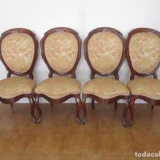 Antigüedades: SILLAS ISABELINAS - MADERA DE COBA -FORMAS CURVAS -MUY DECORATIVAS -TAPICERÍA EN BUEN ESTADO -S. XIX. Lote 127642599