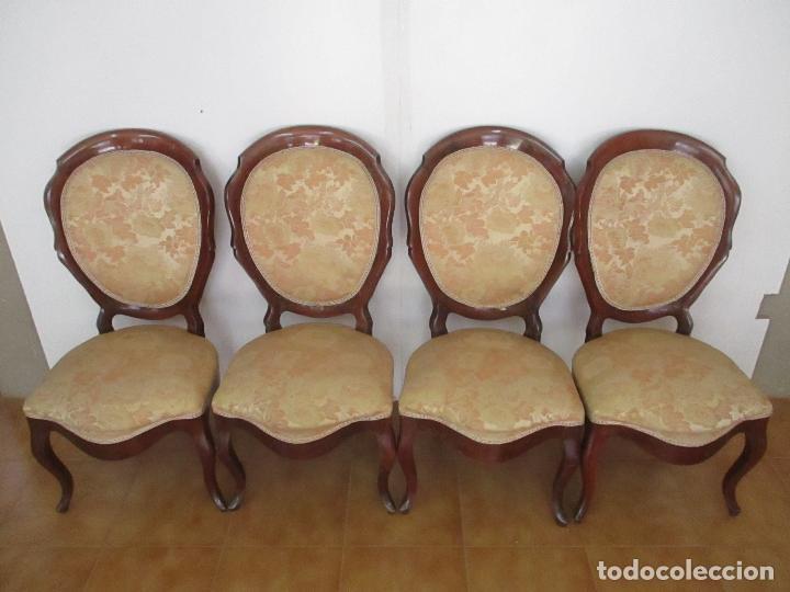 Antigüedades: Sillas Isabelinas - Madera de Coba -Formas Curvas -muy Decorativas -Tapicería en Buen Estado -S. XIX - Foto 2 - 127642599