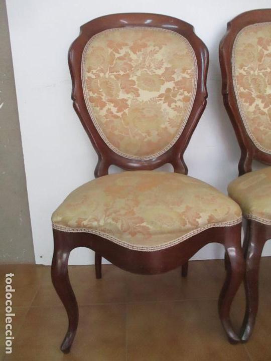 Antigüedades: Sillas Isabelinas - Madera de Coba -Formas Curvas -muy Decorativas -Tapicería en Buen Estado -S. XIX - Foto 3 - 127642599