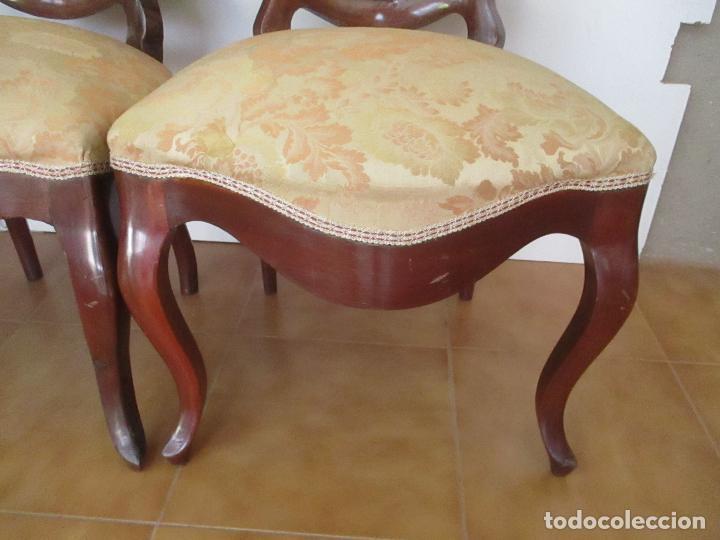 Antigüedades: Sillas Isabelinas - Madera de Coba -Formas Curvas -muy Decorativas -Tapicería en Buen Estado -S. XIX - Foto 5 - 127642599