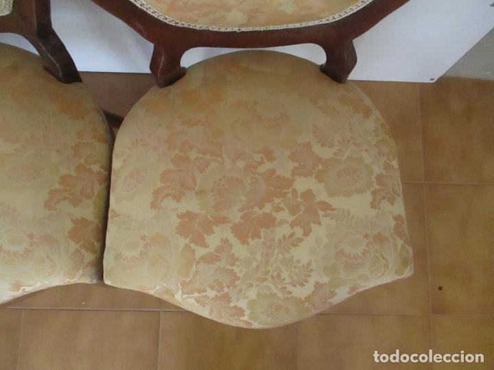 Antigüedades: Sillas Isabelinas - Madera de Coba -Formas Curvas -muy Decorativas -Tapicería en Buen Estado -S. XIX - Foto 6 - 127642599