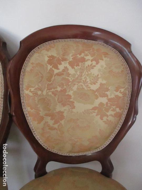 Antigüedades: Sillas Isabelinas - Madera de Coba -Formas Curvas -muy Decorativas -Tapicería en Buen Estado -S. XIX - Foto 7 - 127642599