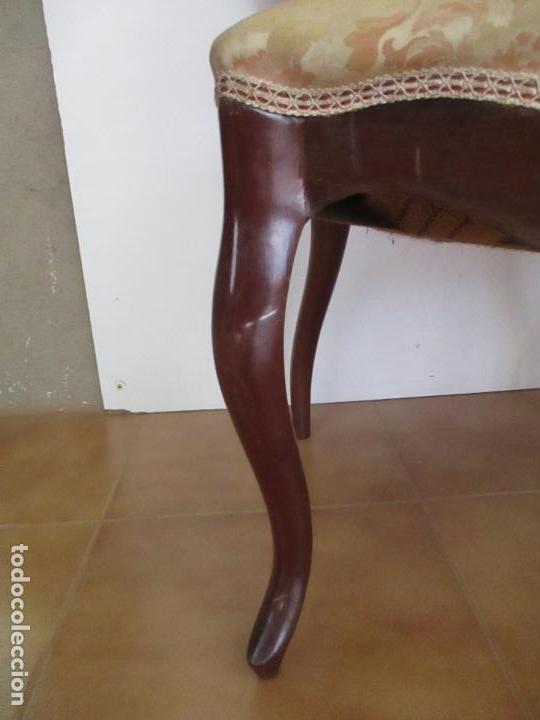 Antigüedades: Sillas Isabelinas - Madera de Coba -Formas Curvas -muy Decorativas -Tapicería en Buen Estado -S. XIX - Foto 10 - 127642599