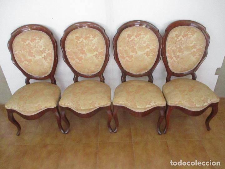 Antigüedades: Sillas Isabelinas - Madera de Coba -Formas Curvas -muy Decorativas -Tapicería en Buen Estado -S. XIX - Foto 11 - 127642599