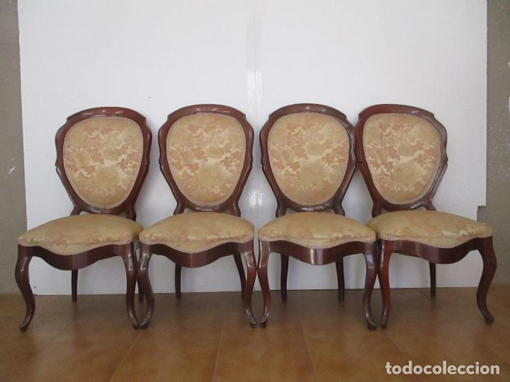 Antigüedades: Sillas Isabelinas - Madera de Coba -Formas Curvas -muy Decorativas -Tapicería en Buen Estado -S. XIX - Foto 12 - 127642599