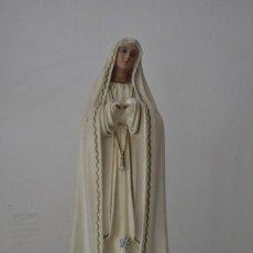 Antigüedades: IMAGEN VIRGEN MARIA DEL ROSARIO DE FÁTIMA, EN PASTA DE MADERA DE OLOT. Lote 151514813