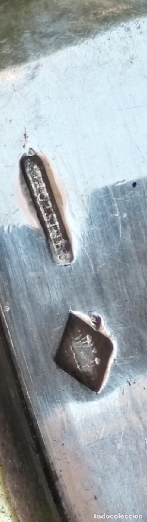 Antigüedades: ANTIGUA MOHARRA O ESTANDARTE PROCESIONAL terminal banderao cruz bronce baño plata sello contraste - Foto 2 - 127655659