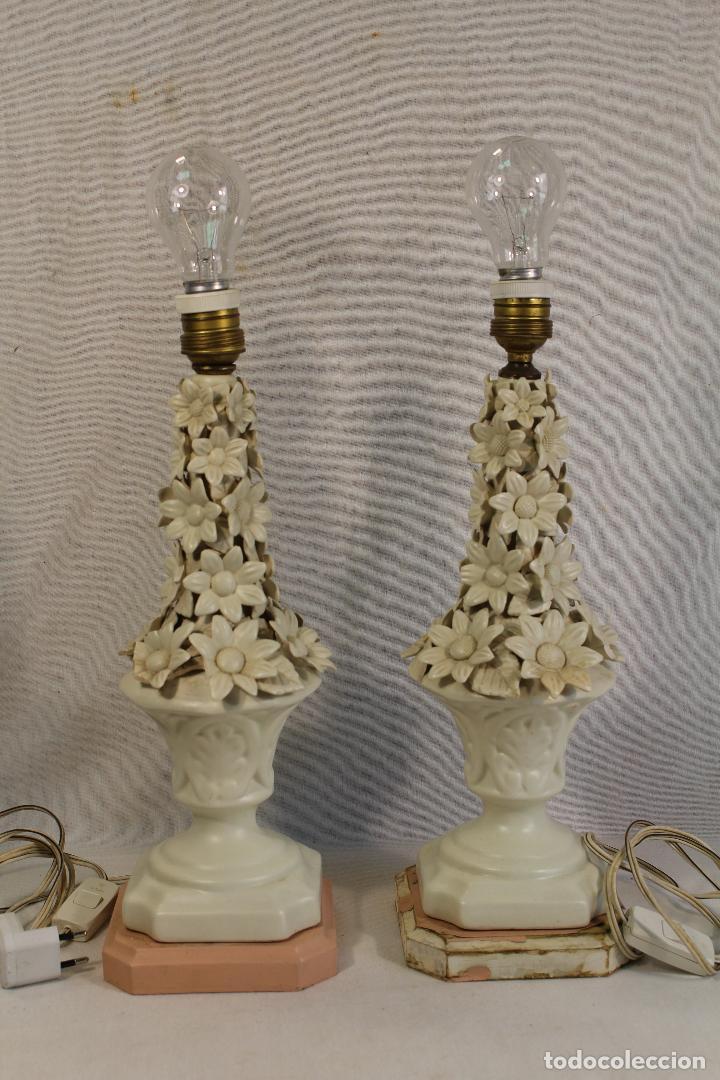 Antigüedades: pareja de lamparas de sobremesa en ceramica de manises - Foto 2 - 127662147