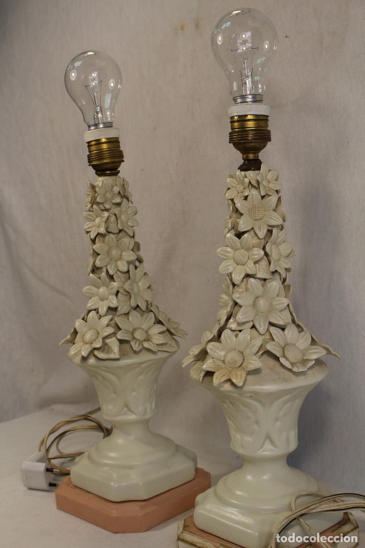 Antigüedades: pareja de lamparas de sobremesa en ceramica de manises - Foto 3 - 127662147