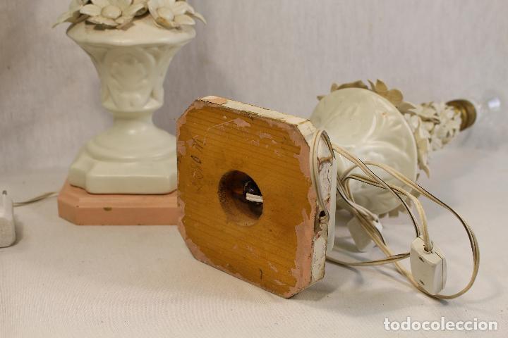 Antigüedades: pareja de lamparas de sobremesa en ceramica de manises - Foto 6 - 127662147