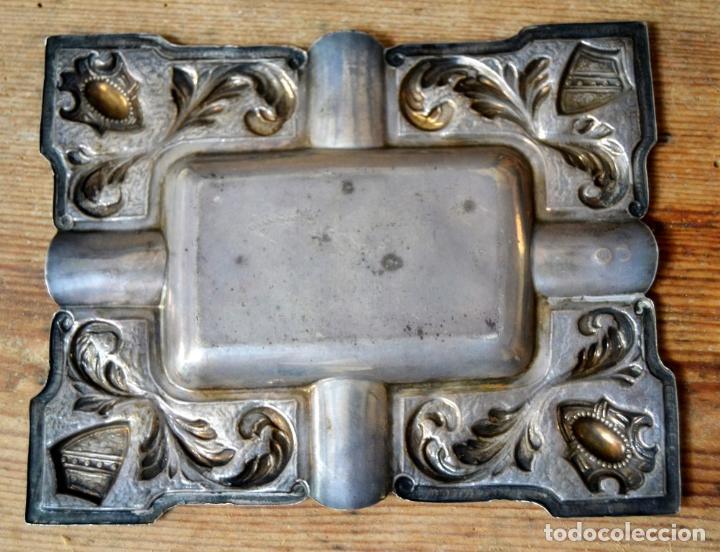 Antigüedades: CENICERO DE PLATA CON CONTRASTES Y DECORACION EN RELIEVE - Foto 7 - 127663963