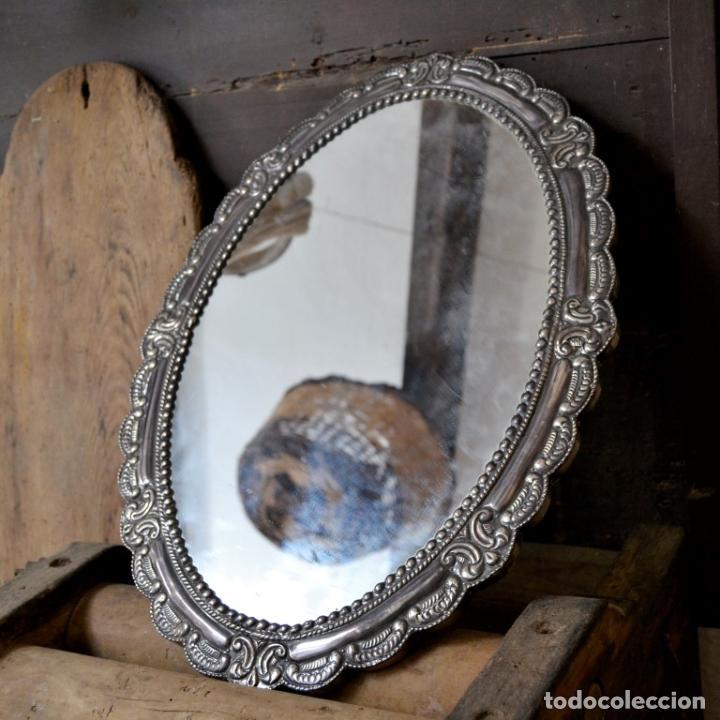 Antigüedades: ESPECTACULAR ESPEJO DE PLATA REPUJADA * SELLADA * CONTRASTES * 52,5CM X 38,5CM - Foto 3 - 127667487