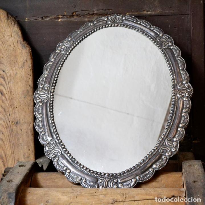 Antigüedades: ESPECTACULAR ESPEJO DE PLATA REPUJADA * SELLADA * CONTRASTES * 52,5CM X 38,5CM - Foto 4 - 127667487