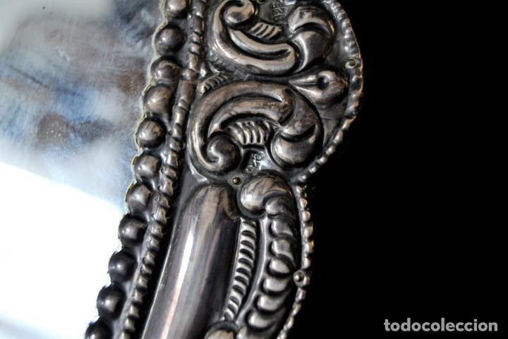 Antigüedades: ESPECTACULAR ESPEJO DE PLATA REPUJADA * SELLADA * CONTRASTES * 52,5CM X 38,5CM - Foto 6 - 127667487