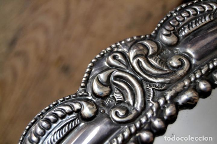 Antigüedades: ESPECTACULAR ESPEJO DE PLATA REPUJADA * SELLADA * CONTRASTES * 52,5CM X 38,5CM - Foto 7 - 127667487
