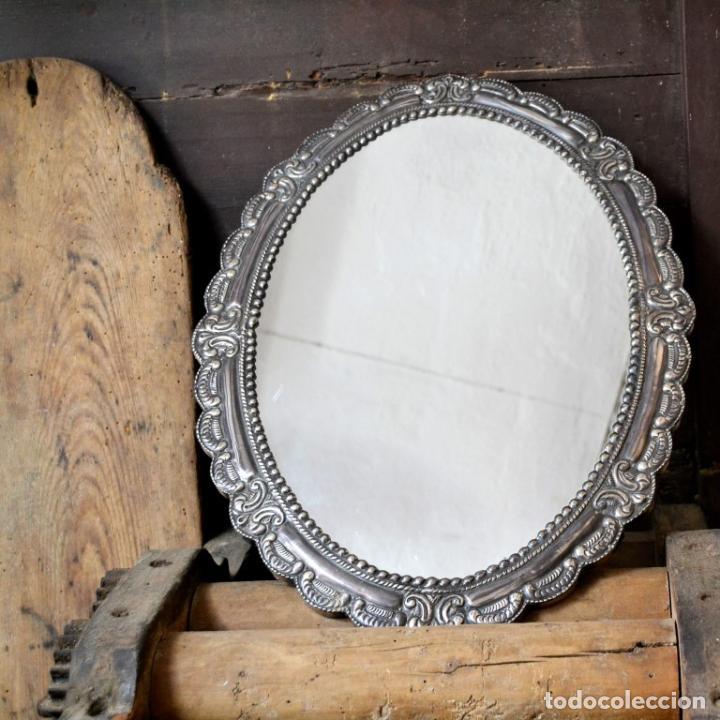 Antigüedades: ESPECTACULAR ESPEJO DE PLATA REPUJADA * SELLADA * CONTRASTES * 52,5CM X 38,5CM - Foto 8 - 127667487