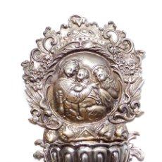 Antigüedades: BENDITERA DE PLATA 13,5 CM DE ALTO HECHA EN BILBAO.- MONDE ELEGANT.- 140 GRAMOS. Lote 127727899