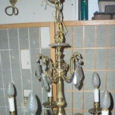 Antigüedades: LAMPARA METAL DORADO CINCELADO / BRONCE. Lote 127730359