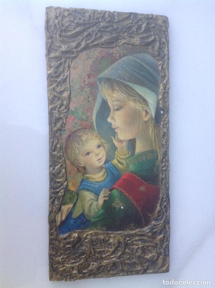 TABLA CON VIRGEN Y NIÑO. 20X11 CM. (Antigüedades - Religiosas - Varios)