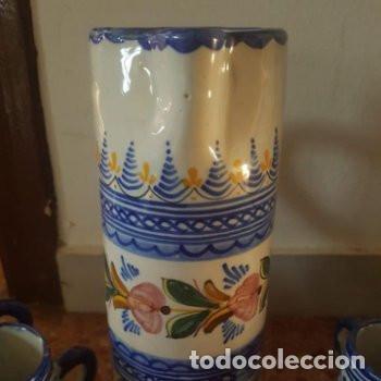 Antigüedades: Conjunto jarra y vasos de vino hechas y pintadas a mano Puente del Arzobispo con firma en base - Foto 3 - 127790743