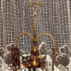 Antigüedades: CANDELABRO DE BRONCE, CUATRO LÁMPARAS. Lote 127859363