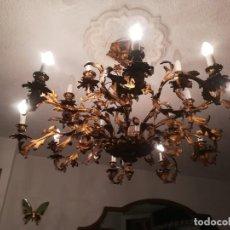 Antigüedades: LÁMPARA DE ARAÑA ESPAÑOLA DE BRONCE 16 LUCES. Lote 127881839