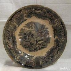 Antigüedades: ANTIGUO PLATO EN CERAMICA DE CARTAGENA - LA AMISTAD - SERIE CAZA - SELLADO. Lote 127914787