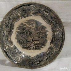 Antigüedades: ANTIGUO PLATO EN CERAMICA DE CARTAGENA - LA AMISTAD - SERIE CAZA - SELLADO. Lote 127914947
