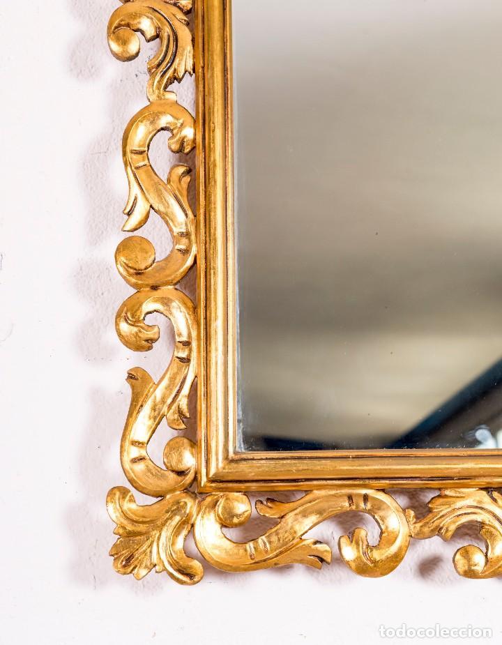 Antigüedades: Espejo Antiguo Con Pan De Oro - Foto 2 - 127925599