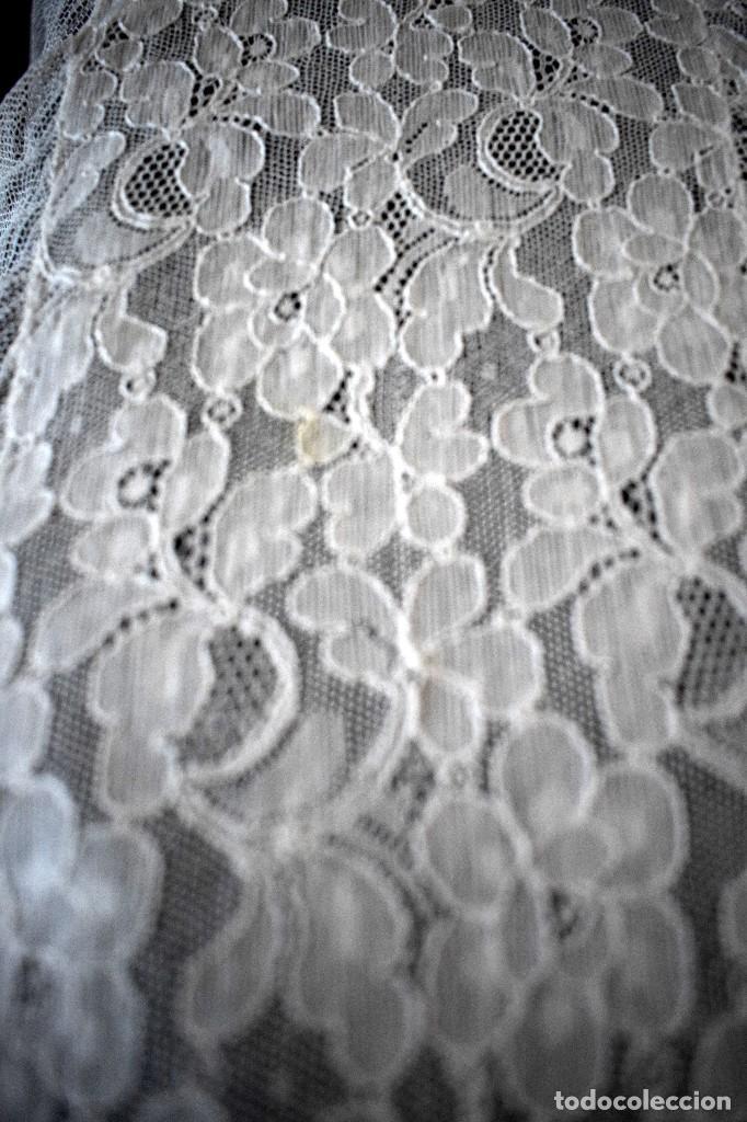 Antigüedades: Colcha antigua encaje valenciennes y alençon modernismo / art decó novia. compatible cama 150 - Foto 16 - 127933551