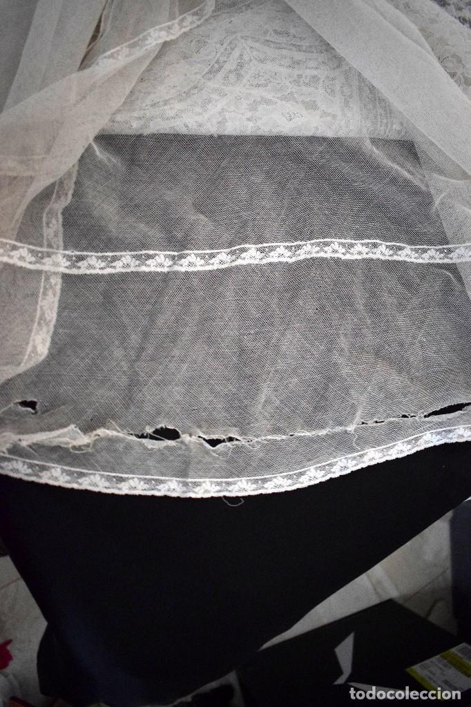 Antigüedades: Colcha antigua encaje valenciennes y alençon modernismo / art decó novia. compatible cama 150 - Foto 23 - 127933551