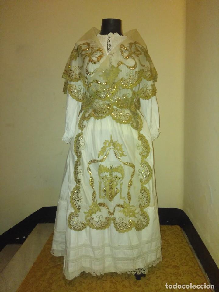 PRECIOSO CONJUNTO DE MANTELETA Y DELANTAL DE INDUMENTARIA TRADICIONAL VALENCIANA (Antigüedades - Moda y Complementos - Mujer)