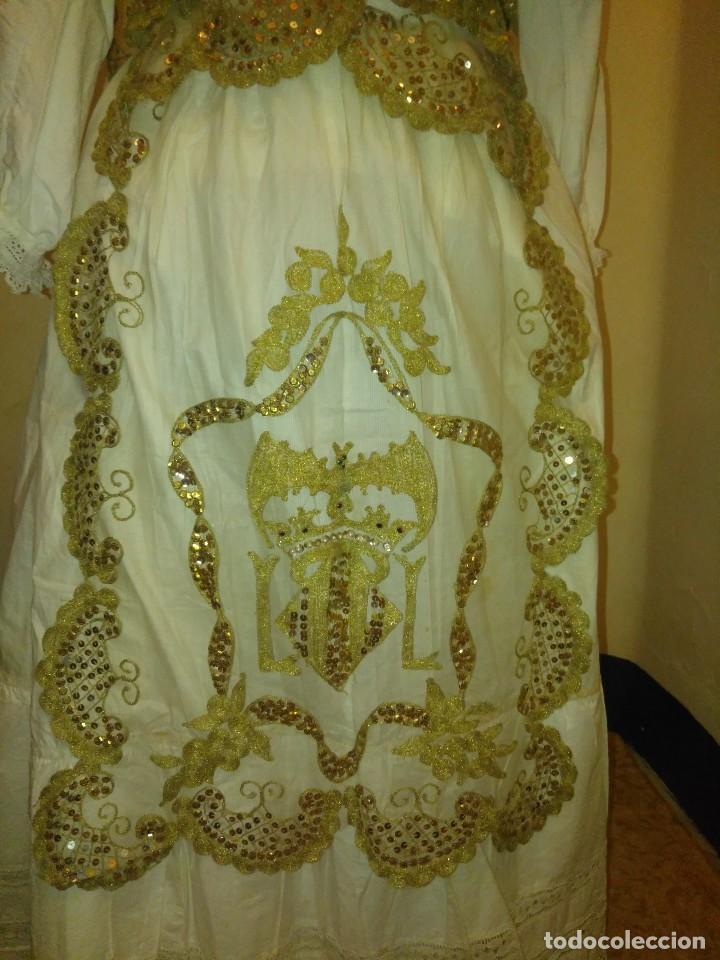 Antigüedades: Precioso conjunto de manteleta y delantal de indumentaria tradicional valenciana - Foto 2 - 127979439