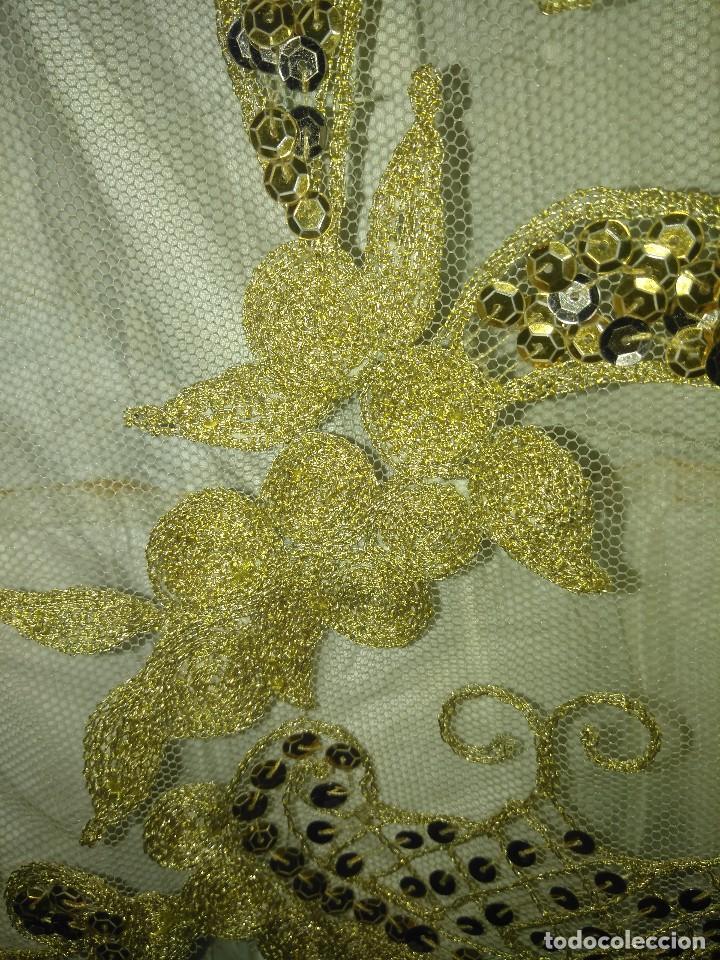 Antigüedades: Precioso conjunto de manteleta y delantal de indumentaria tradicional valenciana - Foto 5 - 127979439