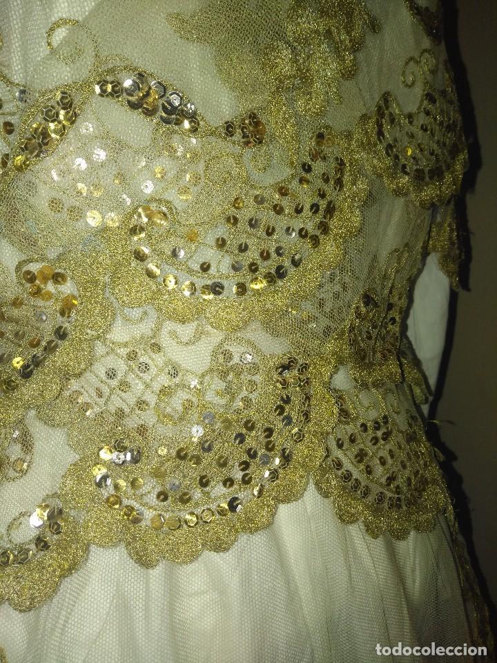 Antigüedades: Precioso conjunto de manteleta y delantal de indumentaria tradicional valenciana - Foto 8 - 127979439