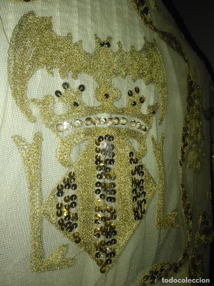 Antigüedades: Precioso conjunto de manteleta y delantal de indumentaria tradicional valenciana - Foto 12 - 127979439