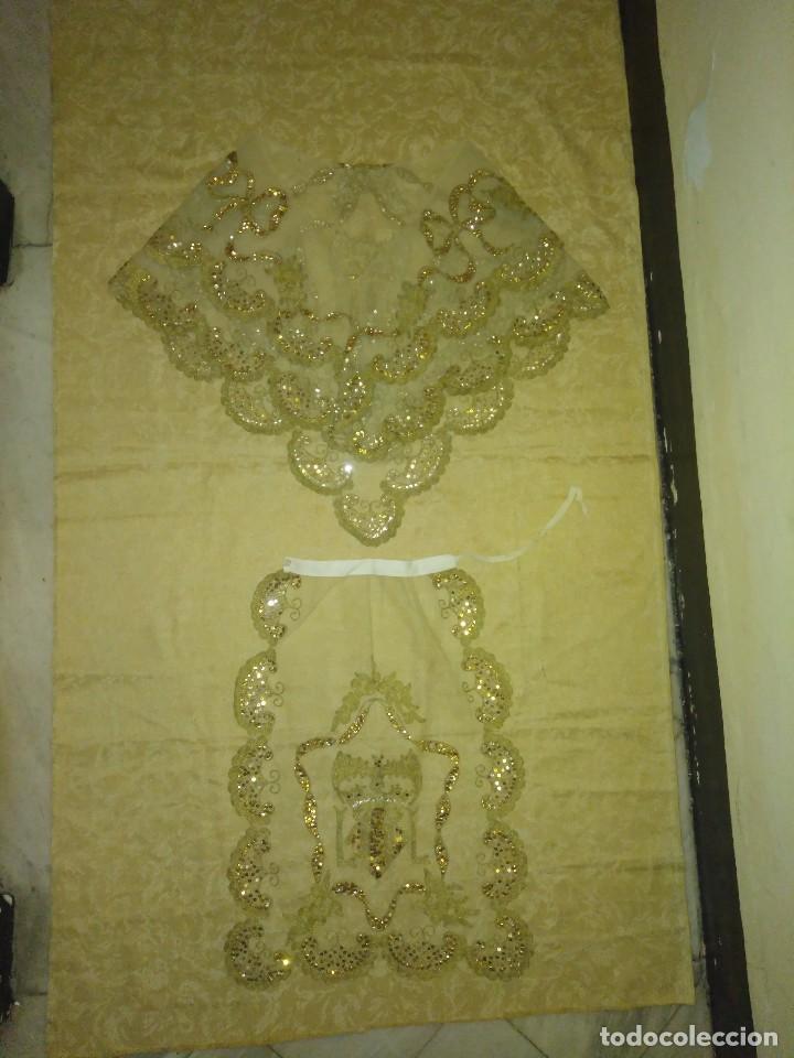 Antigüedades: Precioso conjunto de manteleta y delantal de indumentaria tradicional valenciana - Foto 20 - 127979439