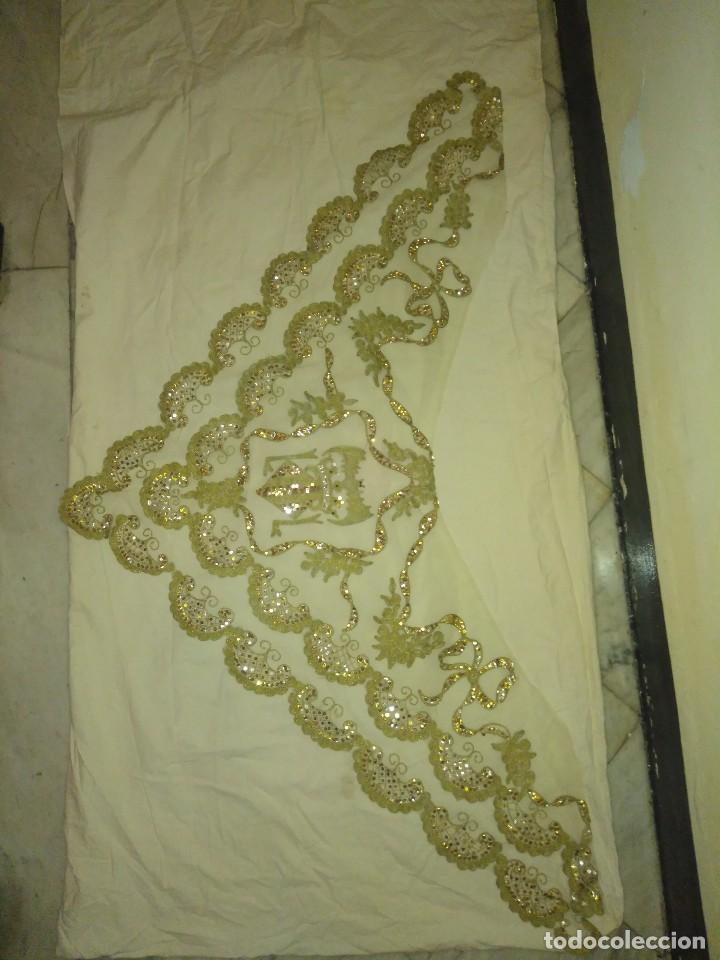 Antigüedades: Precioso conjunto de manteleta y delantal de indumentaria tradicional valenciana - Foto 22 - 127979439