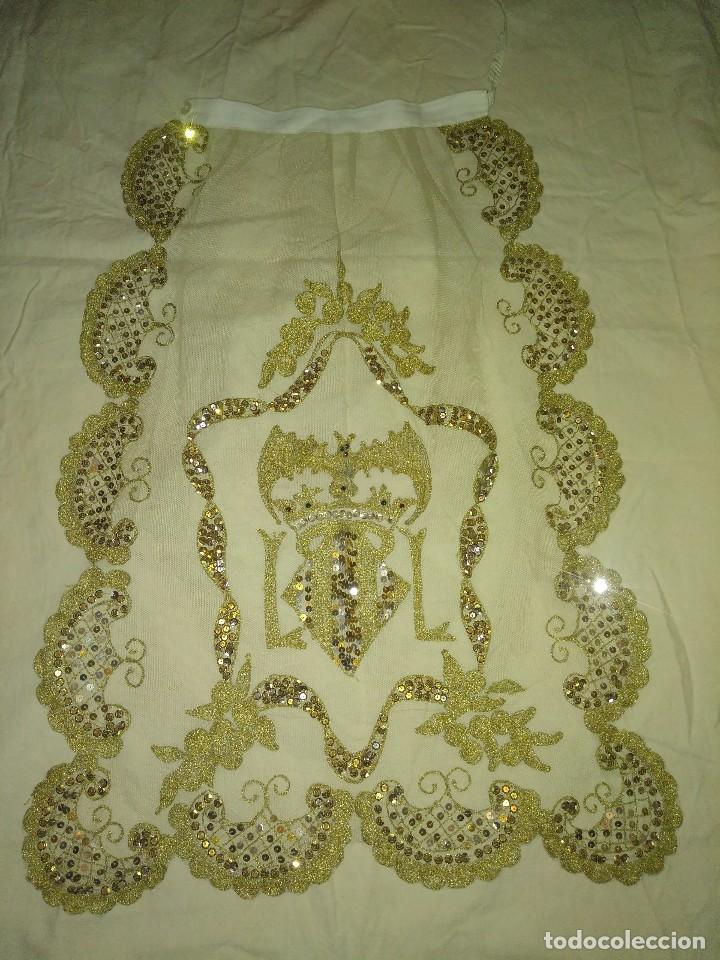 Antigüedades: Precioso conjunto de manteleta y delantal de indumentaria tradicional valenciana - Foto 28 - 127979439