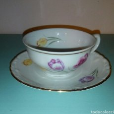 Antigüedades: TAZA Y PLATO CAFE SANTA CLARA. Lote 128045843