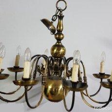 Antigüedades: LAMPARA DE BRONCE 10 BRAZOS - ANTIGUA. Lote 128082959