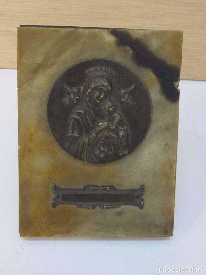 medalla de bronce de la virgen en marco de márm - Comprar ...