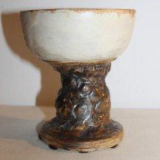 Antigüedades: ANGELINA ALÒS I TORMO (1917-1997) - COPA EN CERÁMICA ESMALTADA - FIRMADA EN 1989. Lote 128109643