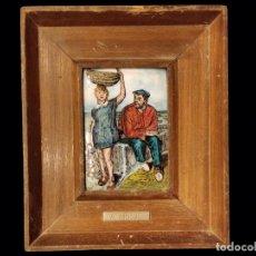 Antigüedades: ALBERTO ARRUE, PESCADOR CON NIÑA. ESMALTE , PRECIOSO.. Lote 128125751
