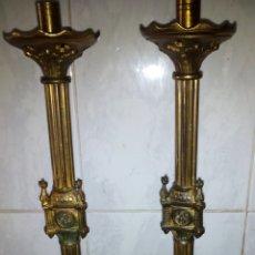 Antigüedades: ANTIGUOS CANDELABROS DE BRONCE 48 CM.. Lote 128167195