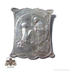 Antigüedades: CHAPA ESCENA RELIGIOSA 8 X 7 CM .- VARIAS MARCAS MATRICEROS. Lote 128167603