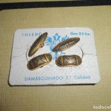 Antigüedades: ANTIGUOS GEMELOS DAMASQUINO TOLEDO ORO 24 KILATES AÑOS 50-60 VINTAGE NUEVOS. Lote 128170855
